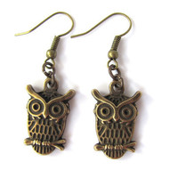 Owl Earrings Bronze Charms Brass Earwires Animal Jewlery by HendysHome