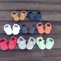 0 To 6 Month Genuine Leather Baby Moccasins, Baby Booties, Baby Girl-Boy Leather Moccasins, Newborn Baby Shoes, Infant Baby Slipper Socks,