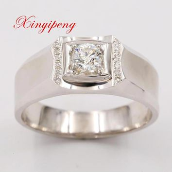 Xin yi peng 18 k white gold inlaid 0.38 carat natural diamond ring, men ring, fashion, wedding gifts