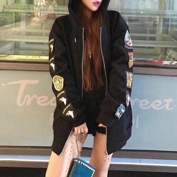 DCCKVQ8 OFF-WHITE' Women Fashion Casual Back Print Badge Embroidery Zip Cardigan Long Sleeve Hooded Sweater Coat
