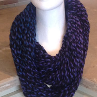 Purple Blue and Black Knitted Infinity Eternity Winter Holiday Scarf
