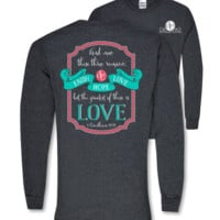 Southern Couture Faith Hope Love Christian Long Sleeve Girlie Bright T Shirt