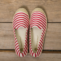 Take Me Out Red Striped Boat Shoes