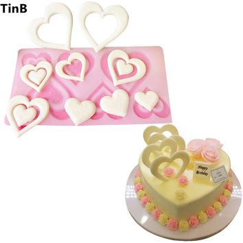 Hot DIY 3D Heart Shape Silicone Mold Cake Decorating Tools Cupcake Silicone Mold Chocolate Mould Decor Muffin Pan Baking Stencil