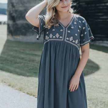 Honey Embroidered Midi Dress, Charcoal