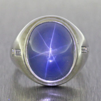 1970s Vintage Estate Men's Platinum Diamond Cabochon Star Sapphire Ring 21.7g