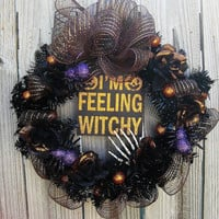 Halloween Wreath - Feeling Witchy Wreath-Front door Halloween wreath-Halloween Decor-Wall wreath-Halloween Wreath