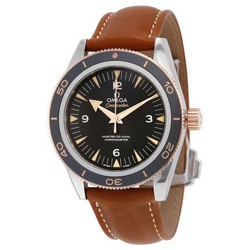 Omega Seamaster 300 Black Dial Brown Leather Mens Watch 233.22.41.21.01.002