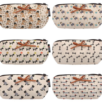 Dog Abstarcts Beige Printed Canvas Pencil Case Pouch Purse WAS_08