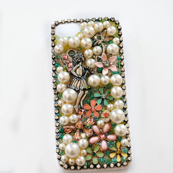 iPhone 5 Case, Fairy, Flowers, Vintage, Crystal, Beads, Swarovski Crystal, Rhinestone, Kawaii, Lolita, Holder, Cover - Fairy Kingdom