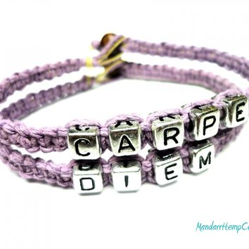 Carpe Diem Bracelet, Light Purple Macrame Hemp, Made to Order