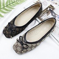Louis Vuitton LV GUCCI Trending Print Bowknot Flat Shoes Canvas Women Sandals Shoes I12303-1