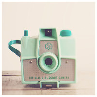 vintage savoy mint camera photo print - whimsical fine art still life photography, girl scouts, retro, nostalgic, lens - 12x12