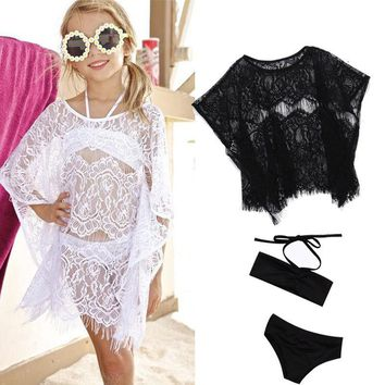 Girls Summer Bikini Set Beach Wear Outfits With Hollow Out Lace Cover Up Dress