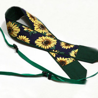 Sunflowers Camera Strap, Yellow, Dark  Blue, Green Camera Strap, Nikon, Canon Camera Strap, Women Accessories