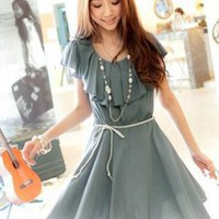 Dainty Ladies Pleated Waves Blue Dresses : Wholesaleclothing4u.com