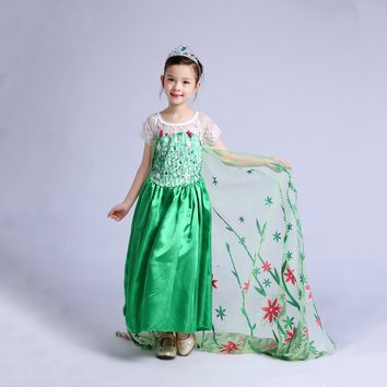 Princess Costume - Green Gown Skirt Elsa Frozen Fever Dress - 👗💘👑🎃👠