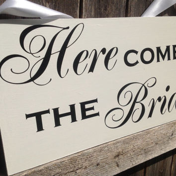 Here Comes the Bride - One sided - Ring Bearer sign, Flower girl sign, Disney Wedding Sign
