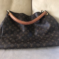 LOUIS VUITTON Brown Artsy MM Monogram Canvas Hobo Bag