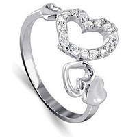 925 Sterling Silver Multi Heart Cubic Zirconia Accent Ring
