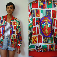 Vtg Flags Print Nautical Anchor Zip Up Light Bomber Jacket