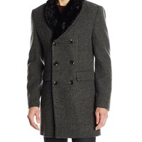 Scotch & Soda Men's Double Breasted Jacket with Detachable Faux Fur Collar, Grey Melange, Medium