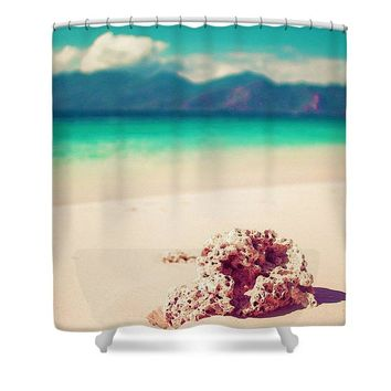 Sea And Sand, Watercolor Art By Adam Asar - Asar Studios - Shower Curtain