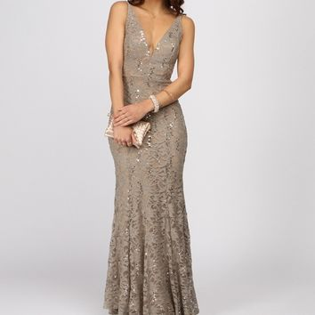 Adara-taupe Formal Dress