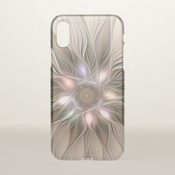 Joyful Flower Abstract Beige Brown Floral Fractal iPhone X Case