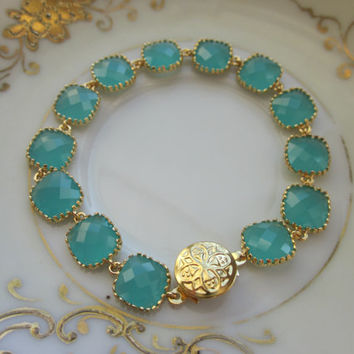 Aqua Blue Mint Bracelet Gold Plated - Glass Square Blocks - Bridesmaid Bracelet - Bridal Bracelet - Wedding Jewelry - Valentines Day Gift