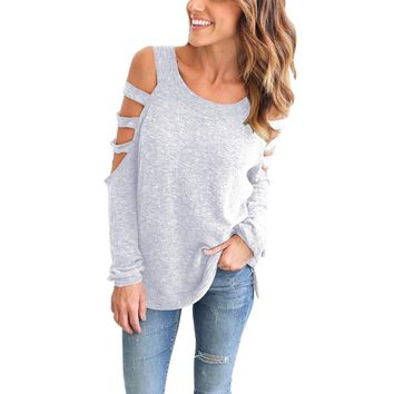 Scoop Neck Hollow Out Long Sleeved Top