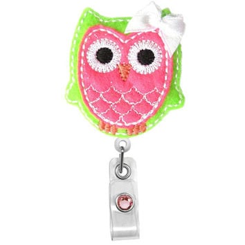 Cute Pink Green Owl w/ bow-Name Badge Holder-Nurses Badge Holder-Cute Badge Reels - Unique ID Badge Holder - RN Badge Reel