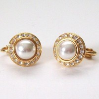 Vintage Faux Pearl and Rhinestone Earrings
