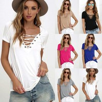 2017 Sexy Women's V Neck Blouse Top Shirt Sleeve Bandage Slim Fit Bottoming Shirts S-5XL