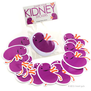 *NEW* - Share Your Kidneys Stickers - 15 Kidney Stickers