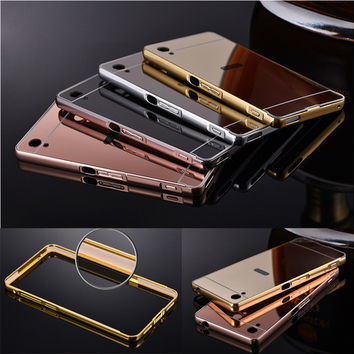 New Luxury Aluminum Mirror Case for Sony Xperia Z Z1 Z2 Z4 Z5 Z3 Z5 Mini Compact Premium M4 M5 C3 C4 C5 C6 Back Cover & Gift