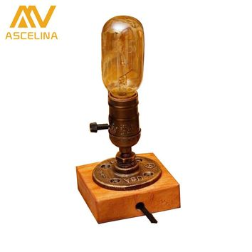 Retro Table Lamp with Wood Dimmable