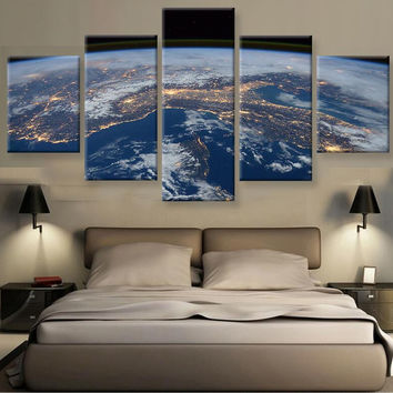 5 Panels Canvas Painting Wall Art Beautiful Earth At Night Wall Pictures For Living Room Decorative Pictures Printed Unframed
