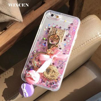 Wixcen Luxury Sequin bling Liquid case For iphone 6 6s 6plus 7 8 plus X Cute Bowknot Glitter tassel Hard PC clear case cover