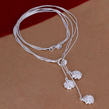 Three Roses  Silver Necklace