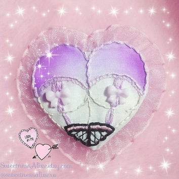 Kawaii Lavender Pink Booty Heart Patch/pinback with lavender bows lingerie