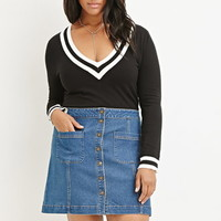 Plus Size Button-Down Denim Skirt