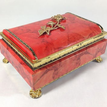 Marbled Coral Pink & Gold Rose Footed Tin Box Hollywood Regency Storage Tin Vanity Glam Art Deco Scroll Romantic TIn Jewelry Box Keepsake