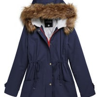 Plain Faux Fur Hoodie Drawstring Parka Coat