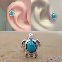 Turquoise Turtle Cartilage Tragus Earring