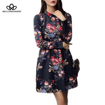 Women flroal elegant causal long sleeve dress
