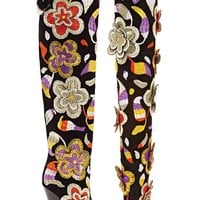 TOM FORD 2D Floral Embroidered Over-the-Knee Boots