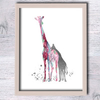 Giraffe print Giraffe real foil poster Baby giraffe gold foil print Animal decor Home decoration Baby shower gift Kids room wall art G127