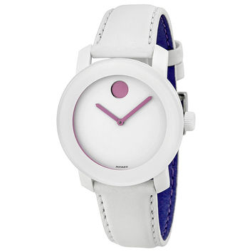 Movado Bold White Dial White Leather Strap Unisex Watch 3600155