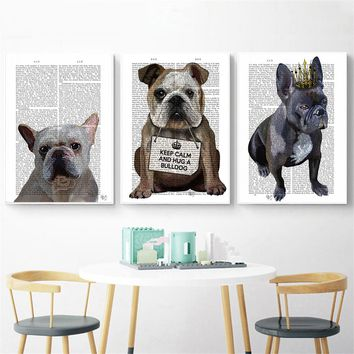 Abstract Painting Wall Pictures for Living Room Home Decor Cute Dog Paper Quotes Kids Room Decor Wall Art Canvas Poster Cuadros